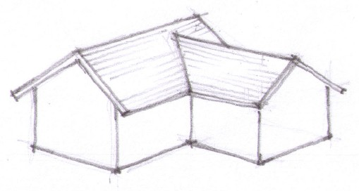 Attic Crawle Access Of A Cross Gable Type Roof